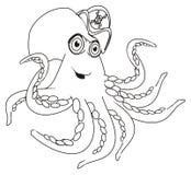 Het kleuren gelukkige octopus in hoed royalty-vrije illustratie