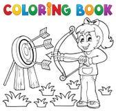 Het kleuren het spelthema 3 van boekjonge geitjes Stock Foto's