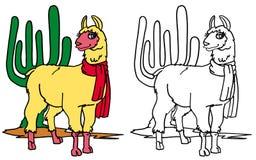 Het kleuren lama Royalty-vrije Stock Foto