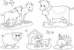 Het kleuren landbouwbedrijfdieren 2 Stock Foto's