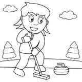Het kleuren Meisje het Speel Krullen in het Park vector illustratie