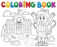Het kleuren het meisjesthema 2 van de boek gelukkig leerling stock illustratie