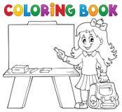 Het kleuren het meisjesthema 4 van de boek gelukkig leerling royalty-vrije illustratie