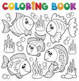 Het kleuren thema 1 van boek divers vissen Stock Foto