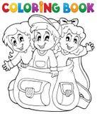 Het kleuren thema 6 van boekjonge geitjes Stock Foto