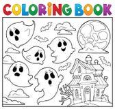 Het kleuren thema 6 van het boekspook vector illustratie