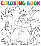 Het kleuren thema 1 van de boekdinosaurus Royalty-vrije Stock Afbeeldingen