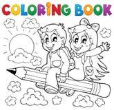 Het kleuren thema 3 van de boekleerling Stock Afbeeldingen