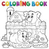 Het kleuren thema 3 van het boekvarken Stock Foto