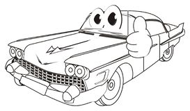 Het kleuren van gelukkige oude auto met gebaar vector illustratie