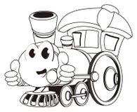 Het kleuren van gelukkige stuk speelgoed trein met gebaar vector illustratie