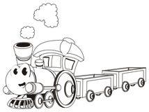 Het kleuren van gelukkige stuk speelgoed trein met slepen vector illustratie