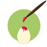 Het kleuren van het ei voor Pasen Stock Afbeeldingen