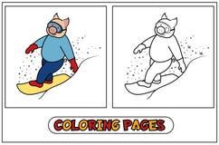 Het kleuren Varken - Snowboarder Stock Fotografie
