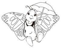 Het kleuren vlinder met paraplu vector illustratie