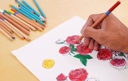 Het kleuren in Zijn Schets van Rozen Stock Fotografie