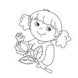 Het kleurende paginaoverzicht van Mooi meisje met nam toe Royalty-vrije Stock Afbeeldingen