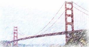 Het kleurenpotlood geeft van Golden gate bridge terug stock videobeelden