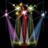 Het kleurenstadium toont Lightsbeams van Licht en Kleurrijk Royalty-vrije Stock Fotografie