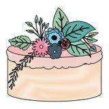 Het kleurpotloodsilhouet van de kleurencake van de handtekening met roze buttercreamornament plant decoratief stock illustratie