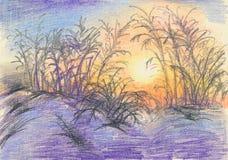 Het kleurpotloodtekening van de de winterzonsondergang vector illustratie