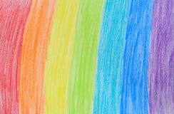 Het kleurpotloodtekening van de regenboog Royalty-vrije Stock Foto