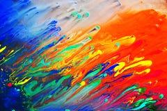 Het kleurrijke abstracte acryl schilderen Stock Foto