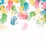 Het kleurrijke Af:drukken van de Hand Stock Afbeelding