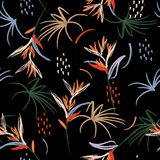 Het in Kleurrijke Artistieke abstracte naadloze patroon van de waterverfborstel de illustratiehand getrokken schets van de de zom royalty-vrije illustratie