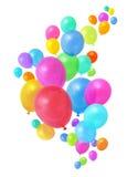 Het kleurrijke ballons vliegen Stock Foto's
