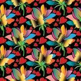 Het kleurrijke bloemen naadloze patroon van liefdeharten Heldere vectorrug Royalty-vrije Stock Fotografie