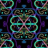 Het kleurrijke bloemen vector naadloze patroon van Paisley De hand getrokken bloemen van tracerypaisley van de lijnkunst, krommen stock illustratie