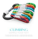 Het kleurrijke carabiner beklimmen geïsoleerd op wit Stock Foto