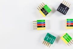 Het kleurrijke cirkelpatroon van Computerschakelaars op witte close-up Royalty-vrije Stock Fotografie