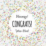 Het kleurrijke in Congrats-ontwerp van het kaartmalplaatje Stock Foto