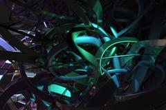 Het kleurrijke 3d teruggeven Abstracte CGI-samenstelling, geometrische bos van slordig koord Behang voor grafisch ontwerp vector illustratie