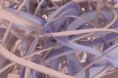 Het kleurrijke 3d teruggeven CGI-samenstelling, bos van slordig koord, geometrisch voor ontwerptextuur, achtergrond vector illustratie