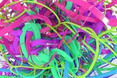 Het kleurrijke 3d teruggeven De samenstelling van decoratieve, illustratiescgi, bos van slordig koord geometrisch, voor de achter vector illustratie