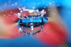Het kleurrijke de kroon van de Waterdaling bespatten in water stock fotografie