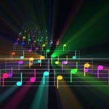 Het kleurrijke de muziek van het nota'sblad gloeien Stock Afbeelding