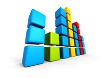 Het kleurrijke diagram van de blokgrafiek op witte achtergrond Stock Foto
