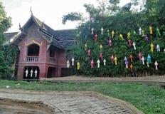 Het kleurrijke document lantaarn hangen op boom in de tempel stock afbeeldingen