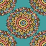 Het kleurrijke eenvoudige patroon van de krabbelbloem, vectorillustratie Stock Foto's
