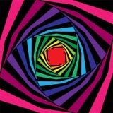 Het kleurrijke en Zwarte Gestreepte Schroef Uitbreiden zich van het Centrum abstracte achtergrond Optische illusie van Diepte en  vector illustratie
