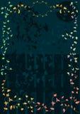 Het Kleurrijke Frame van bladeren met de Ster van de Maan van de Omheining van de Nacht Stock Afbeelding