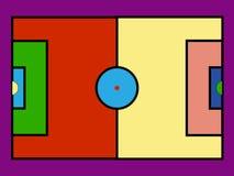 Het kleurrijke gebied van het pop-artvoetbal Vectorillustratiepictogrammen stock illustratie