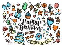 Het kleurrijke gelukkige verjaardagspartij van letters voorzien en krabbelreeks Royalty-vrije Stock Afbeeldingen