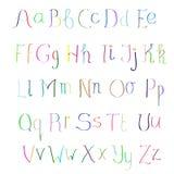 Het Kleurrijke hand getrokken alfabet van ABC Stock Foto's