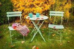 Het kleurrijke hoekje van de de herfsttuin met hete thee en deken Stock Afbeeldingen