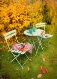 Het kleurrijke hoekje van de de herfsttuin met hete thee en deken Stock Foto's